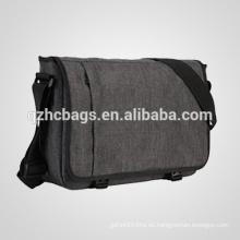 Durable gris bolsa de mensajero de la computadora portátil para adolescentes de 15 pulgadas