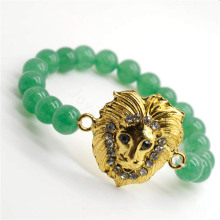 Green Aventurine Gemstone Bracelet with Diamante alloy Lion Head Piece