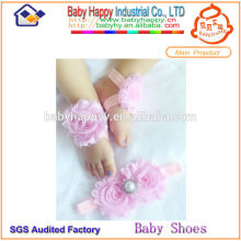infant babie headband set fancy barefoot sandals