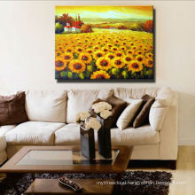 Bright Color Sunflower Painting On Canvas Art