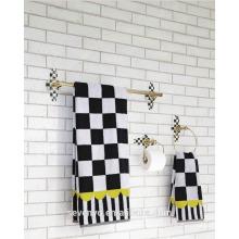 Estilo pastoral preto e branco grade banho toalha, toalha conjunto BT-078