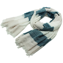 Lady Fashion Stripe Printed Cotton Viscose Spring Scarf (YKY1158)