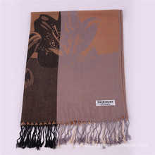 New Style Light Khaki Color Winter Scarf Fashion Jacquard Pashmina