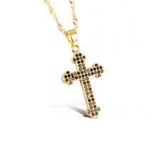 Femmes croix collier, mince côté or croix bijoux colliers