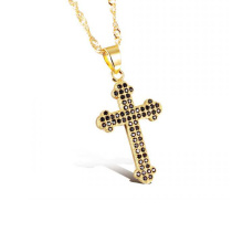 Mulheres cruzam colar, ouro fino para os lados cruz colares jóias