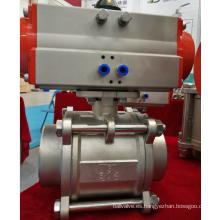 Control de fluido modificado para requisitos particulares actuador neumático de la válvula de bola SS304