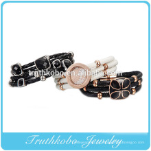 2014 novo produto moda de alta qualidade em aço inoxidável PU alta pulseira de couro de borracha com bola