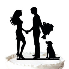 Жених и невеста с собакой силуэт свадебный торт Топпер