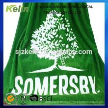 fil teint personnalisé jacquard logo éponge coton serviette de plage