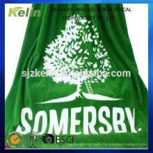 yarn dyed custom jacquard logo terry cotton beach towel