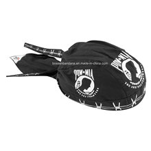 OEM Produce Customized Logo Printed Promotional Black Cotton Biker Skull Hat Caps