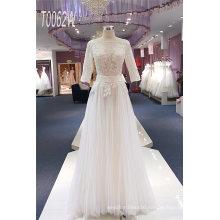 Custom Made Beading A Line Floor Length Bridal Wedding Dress