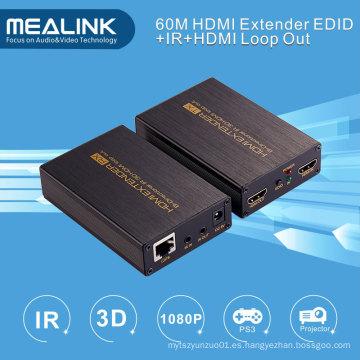 60m HDMI Extender más de un solo Cat5e / 6, HDMI Loop Out (Bi-direccional IR + EDID + 3D)
