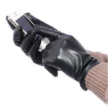 Мужская мода овчины кожаные перчатки Сенсорный экран (YKY5192)