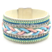 hot china products wholesale mexican woven leather bracelets with magnetic clasp