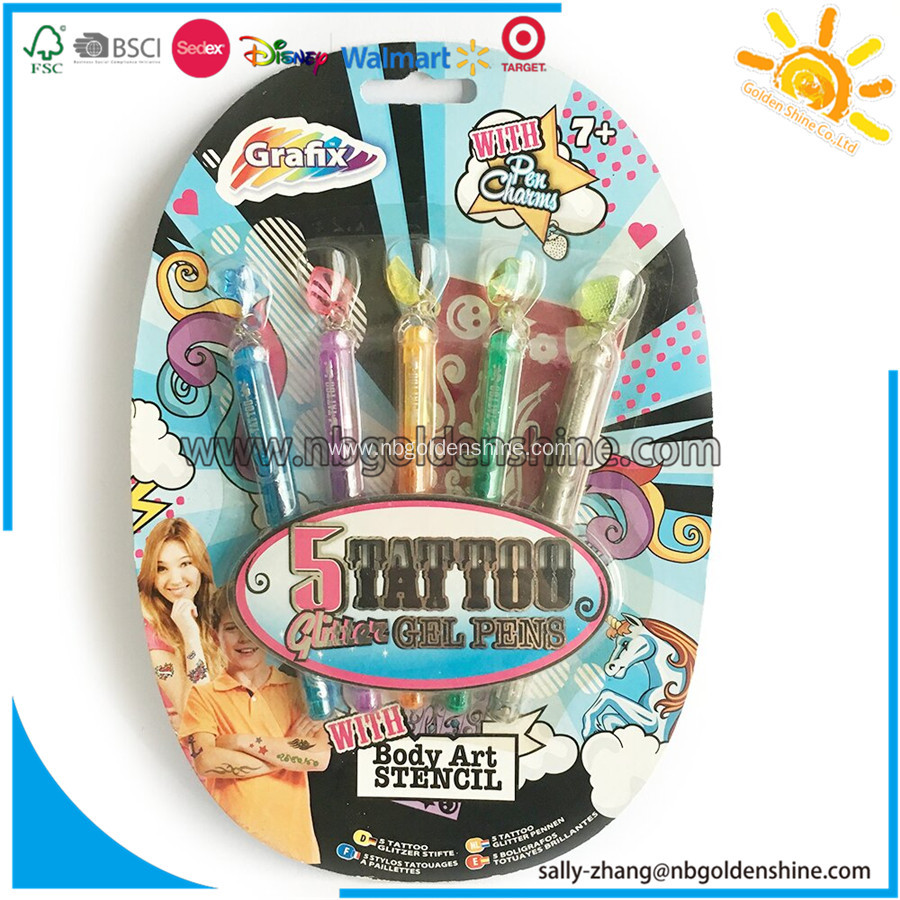 5 Tattoo Glitter Gel Pens