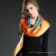 Многоцветная печатная шелковая атласная лошадь Большая квадратная шальная шаль 100 * 100 см