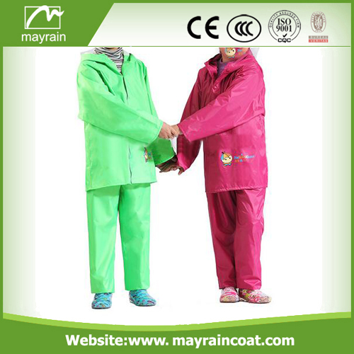 PU Children Red And Green Rainsuits
