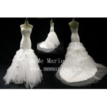 Sweetheart mermaid black handmade folwers wedding dress bridal gown BYB-14601