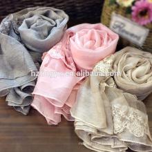 Hot whosale 30% lã 50% de seda 20% polyster mistura lenço bordado hijab muçulmano rendas