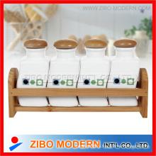 Набор 4PC керамические волнистые пряные бутылки с деревянной стойкой