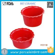 Gros ustensiles de cuisine en céramique rouge pudding moule ustensiles de cuisine