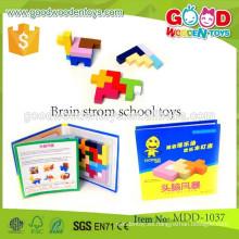 Jigsaw de madera colorido de la venta caliente juega la escuela inteligente de la tormenta del cerebro del OEM juega MDD-1037