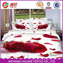 100% polyester duvet cover bed set with 3D design printed bed sheet set