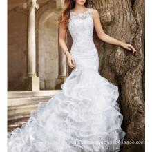 Alibaba Wunderschöne Appliqued Sleeveless afrikanische Hochzeitskleider Meerjungfrau 2017