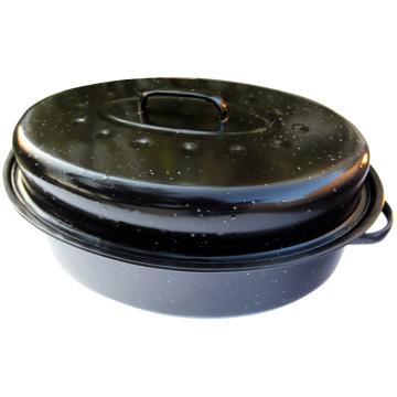 Oval Turkey Roaster, Chicken Roaster Pan, Enamelware, Enamel Roaster
