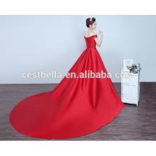 2017 satinado rojo hermoso vestido de noche con cola larga vestido de baile largo tren rojo