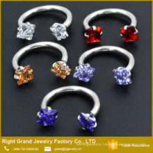 Customized Cubic Zircon Internally Threaded Stainless Steel Circular Barbells