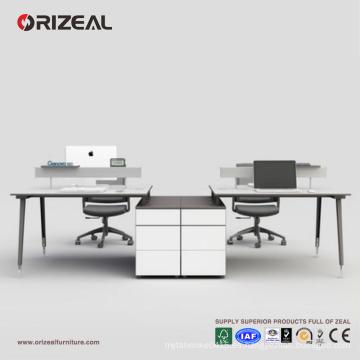 Banco de trabajo largo, moderno, cubículo de mesa 4 plazas de trabajo, escritorio, oficina, con armario