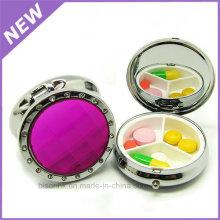 Boîte de pilule médicale ronde Etui de pilule de voyage