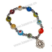 8mm Colourful Gemstone Catholic Bracelet on Elastic