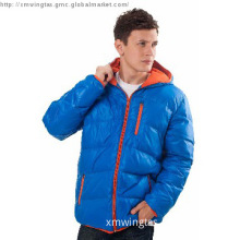 Man\'s royal down jacket with orange zip and hood lining