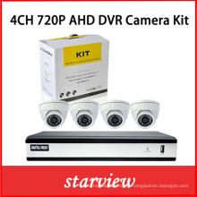 4CH H. 264 720 Ahd DVR con 4 cámaras de CCTV