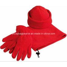 Micro Fleece Chapéu Conjunto Lenço Luva