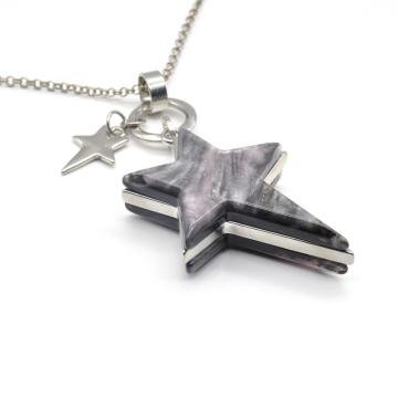Custom color women stylish bling acrylic star pentagram pendant necklace