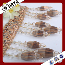 new curtain design silk wooded beads fringe for curtain deco and other home textile decoration