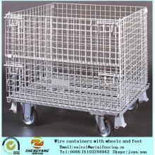 Stahldraht geschweißte Ineinander greifentransportkäfige bereiten Anwendungsmetallstillagekäfigwerkstatt auf, benutzten bewegliche Drahtkäfige mit Rädern