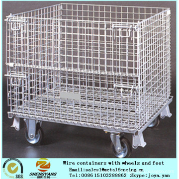 Steel wire welded mesh transport cages recycle application metal stillage cages workshop used movable wire cages with wheels