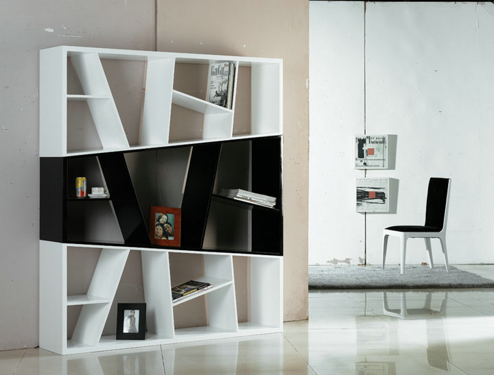 contemporary wooden bookcase