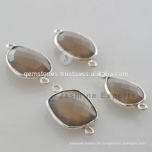 Großhandel Lieferant natürlichen rauchigen Quarz Edelstein 925 Silber Lünette Connector