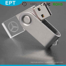 Top Selling Cheapest USB 2.0 Crystal Rectangle USB Flash Drives Key Chain with Logo