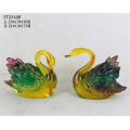 Restaurant decoration polyresin crafts imitated resin colorful jade swan