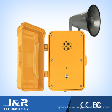 J&R Weatherproof Telephone, Loudspeaker Broadcasting Telephone with Horn