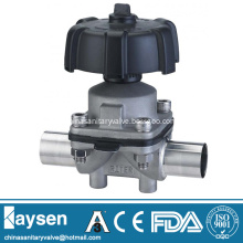 Sanitary manual diaphragm valves weld end plastic handwheel
