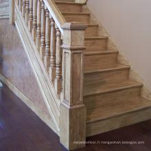 Prix de la conception d'escalier en bois dur en forme de U