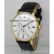 2017 novos homens de moda de aço inoxidável relógio cronógrafo com pulseira de couro